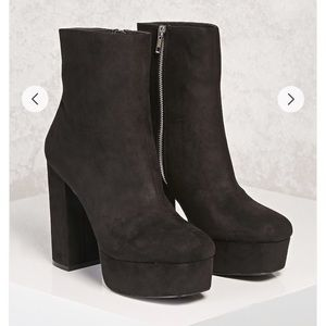 Faux suede forever21 platform booties
