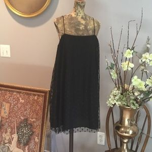ZARA black polka dot Chiffon BABY DOLL DRESS large