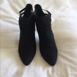 LF black suede booties with ankle details