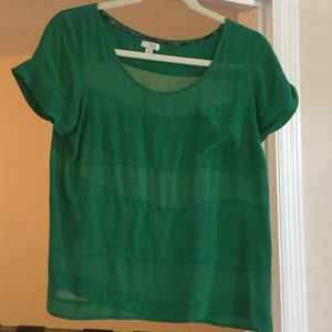 Anthropologie emerald green top