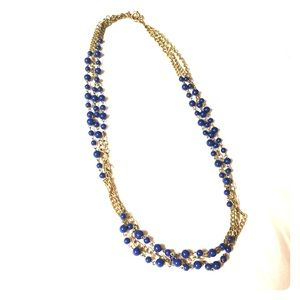 J. Crew Golden and Blue Beaded Necklace