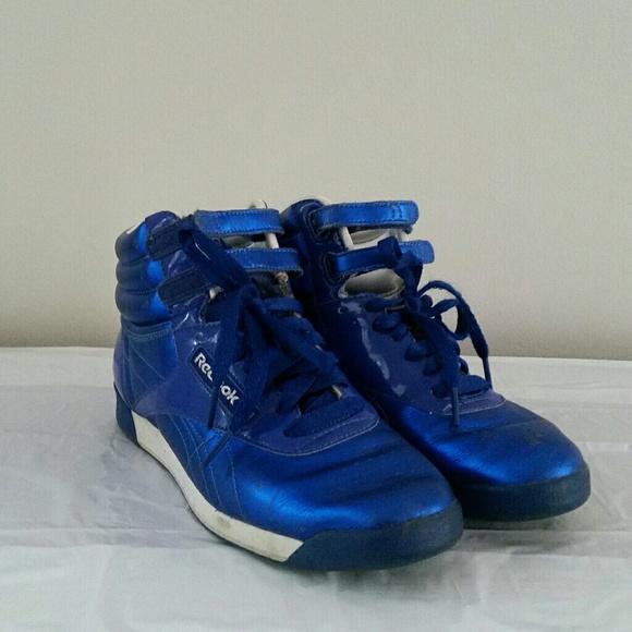 Reebok Shoes   Freestyle Hi Metallic Blue   Poshmark 3de5def9ea