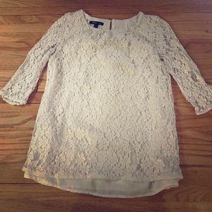 Size 2 Mango brand 3/4 sleeve lace cream top dress