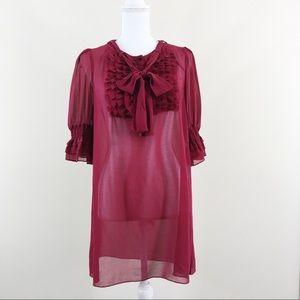 Twelve by Twelve Maroon Sheer Ruffle Tunic Dress L