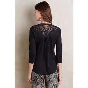 Anthropologie Meadow Rue Linen Lace Cloaked Top