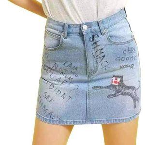 Graffiti denim mini designer skirt