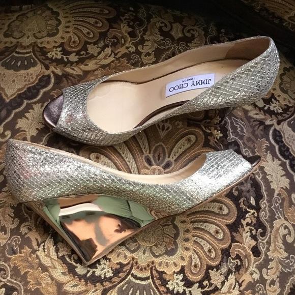 8a74a0d1ab Jimmy Choo Metallic Wedge Peep Toe evening shoes 8.  M_59c9629f6d64bc0ff9085fc9