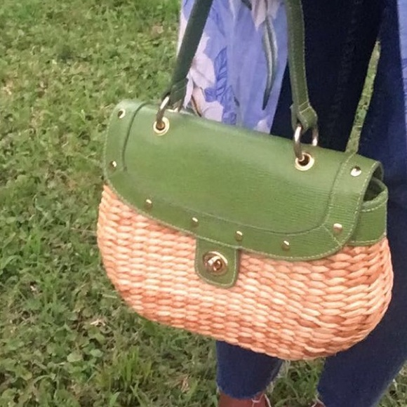 Handbags - Straw handbag with green details