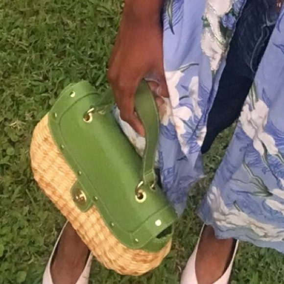 Bags - Straw handbag with green details