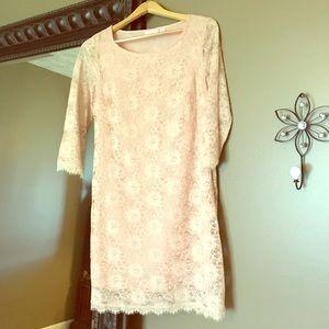 Pink Lace Sheath Dress New York&Company Size Med