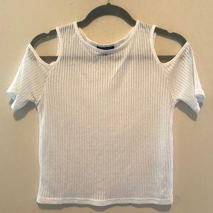 Topshop white cut out shoulder top/t-shirt