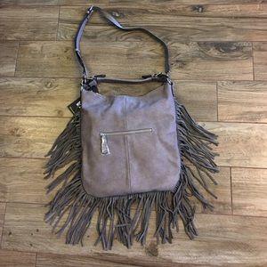 Gray leather fringe bag