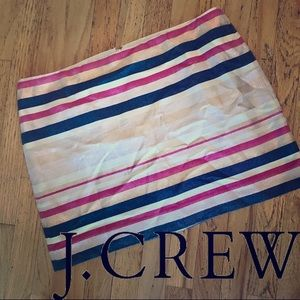 🆕NWT J CREW Shimmery Striped Mini Skirt, Size 14