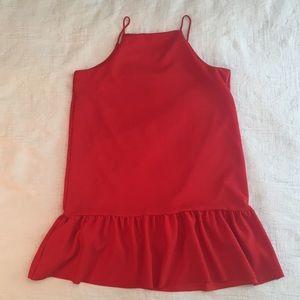 Womens Zara Red Spaghetti Straps Flounce Dress