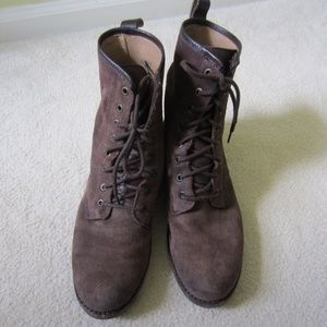 Frye lace-up brown suede work boot size 10M