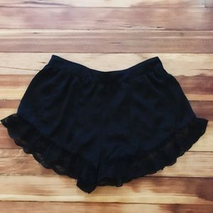 Silk shorts with lace trim