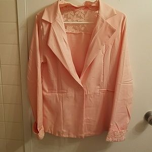 Jackets & Blazers - Light pink jacket unlined with floral lace panel