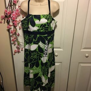 Bright Green & Navy Blue Hawaiian Midi Dress