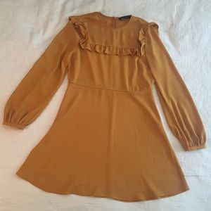 Zara Marigold Yellow Ruffle Dress Sz M L
