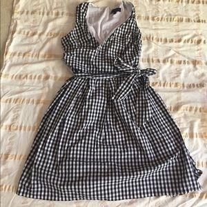 EUC Gingham check faux wrap dress
