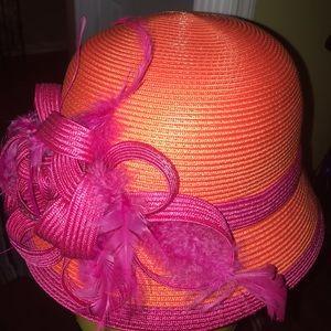 August hat co derby style hat orange/pink