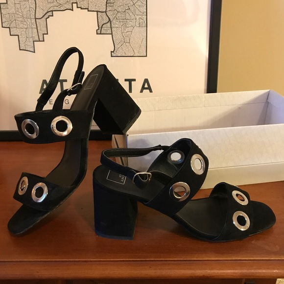 14th & Union Shoes - Black suede 14th and Union heels. Silver grommets!