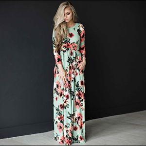 Floral Long Sleeve Maxi Dress Green