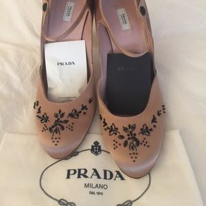 New Prada satin/beaded Mary Jane pumps