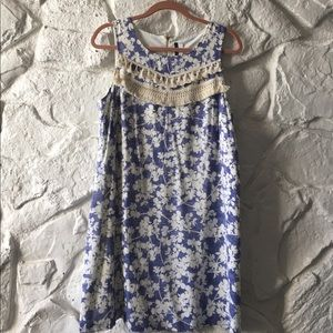 Kensie blue and white dress with embroidery.