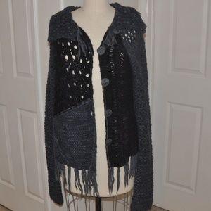 Free People Mix Stitch Fringe Sweater Size Medium