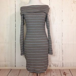 Ultra Flirt Striped Off the Shoulder Dress Medium