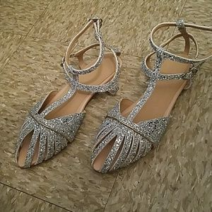 Silver formal sandals