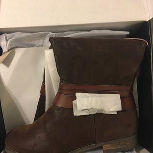 Lane Bryant Shoes - Lane Bryant Brown Multi strap Faux Suede Boots 9W