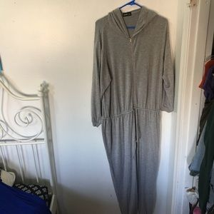 Hooded terry grey jumpsuit