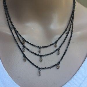 Black multi strand layered necklace