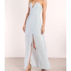 Light blue strapless knee slit maxi dress