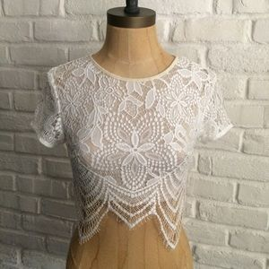 Tea n Cup White Lace Crop Top