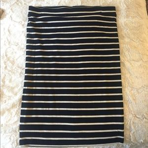 NWOT Apt.9 black with cream stripes midi skirt