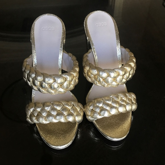 ASOS braided gold mules