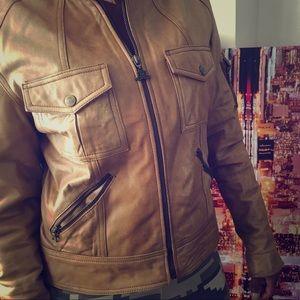 Goldfish tan leather jacket