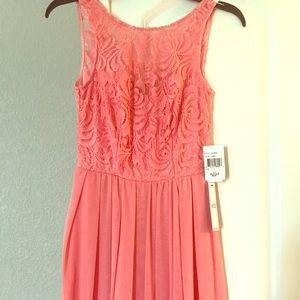 Peach Lace & Chiffon Dress