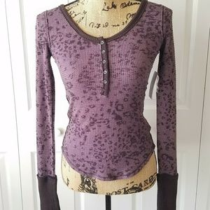 NWT WE THE FREE Free People plum thermal top