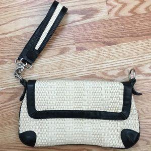 Kate Landry straw clutch