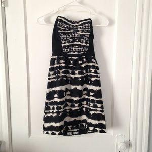 Hurley Black Cream Ruched Strapless Mini Dress