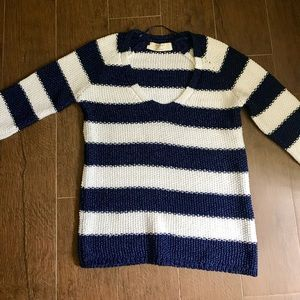Zara white and blue striped sweater