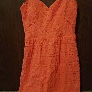 Super cute orange lace strapless dress