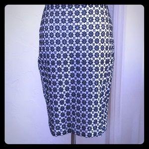 Ann Taylor blue and white eyelet pencil skirt 4
