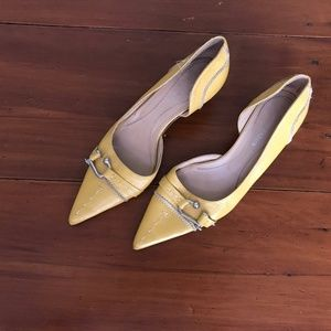 BCBG Vintage Mustard Yellow Low Pointed Heels