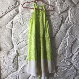 Lime green high-low color block dress.