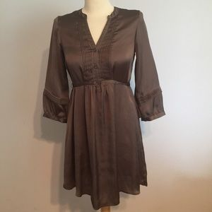 H&M brown silky date night dress 3/4 sleeve 2